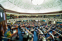 TALLAHASSEE, FLA. 11/22/16-Rep. Don Hahnfeldt, R-The Villages, left, Rep. Kamia Brown, D-Ocoee, Rep. Ralph Massullo, R-Lecanto, Rep. Amber Mariano, R-Hudson, and Rep. Sam Killebrew, R-Winter Haven, take the oath of office from Judge Nicholas Thompson, during the organizational session of the legislature at the Capitol in Tallahassee.<br /> <br /> COLIN HACKLEY PHOTO