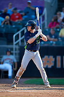 Vermont Lake Monsters Kyle McCann (33) at bat during a NY-Penn League game against the Aberdeen IronBirds on August 18, 2019 at Leidos Field at Ripken Stadium in Aberdeen, Maryland.  Vermont defeated Aberdeen 6-5.  (Mike Janes/Four Seam Images)