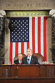 US President George W. Bush delivers the final State of the Union address of his presidency at the US Capitol in Washington 28 January 2008.     .Credit: Tim Sloan - Pool via CNP