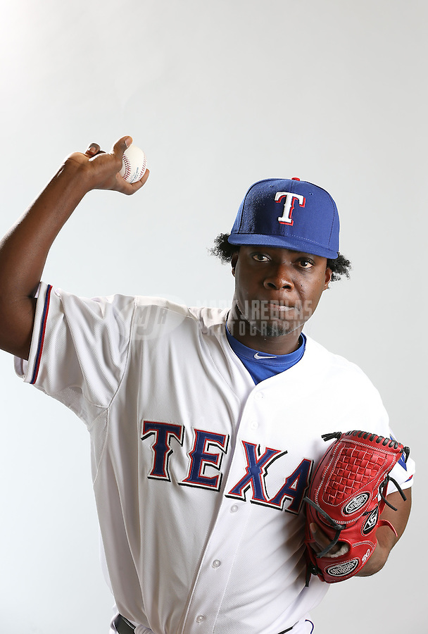 Feb. 20, 2013; Surprise, AZ, USA: Texas Rangers pitcher Roman Mendez poses for a portrait during photo day at Surprise Stadium. Mandatory Credit: Mark J. Rebilas-