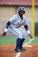 GCL Braves outfielder Ronald Acuna (24) leads off third during a game against the GCL Astros on July 23, 2015 at the Osceola County Stadium Complex in Kissimmee, Florida.  GCL Braves defeated GCL Astros 4-2.  (Mike Janes/Four Seam Images)