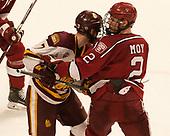 Adam Johnson (UMD - 7), Tyler Moy (Harvard - 2) - The University of Minnesota Duluth Bulldogs defeated the Harvard University Crimson 2-1 in their Frozen Four semi-final on April 6, 2017, at the United Center in Chicago, Illinois.