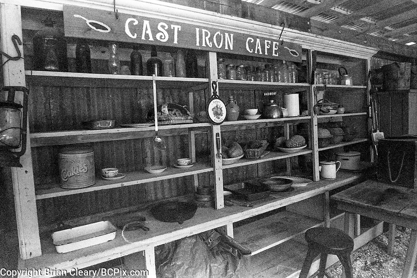 Cast Iron Cafe, Koreshan State Park, Koreshan Unity Settlement Historic site, Estero, FL  July 2018. Shot with a Canon EOS 650 35mm SLR camera on Kodak T-Max 400 film. (Photo by Brian Cleary/ www.bcpix.com )