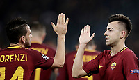 Football Soccer: UEFA Champions League AS Roma vs Chelsea Stadio Olimpico Rome, Italy, October 31, 2017. <br /> Roma's Stephan El Shaarawy (r) celebrates with his teammate Alessandro Florenzi (l) after scoring his second goals during the Uefa Champions League football soccer match between AS Roma and Chelsea at Rome's Olympic stadium, October 31, 2017.<br /> UPDATE IMAGES PRESS/Isabella Bonotto