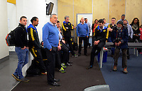 Head coach Chris Boyd talks to the team in the changing rooms after the Super Rugby match between the Hurricanes and Blues at Westpac Stadium, Wellington, New Zealand on Saturday, 2 July 2016. Photo: Dave Lintott / lintottphoto.co.nz