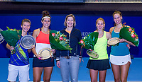 Rotterdam, Netherlands, December 16, 2017, Topsportcentrum, Ned. Loterij NK Tennis, Womans double final: Winners ltr, Demi Schuurs (NED) Rosalie van der Hoek (NED) Marjolijn Noppen manager Toptennis and runners up Chayenne Ewijk and Erika Vogelsang (NED)<br /> Photo: Tennisimages/Henk Koster