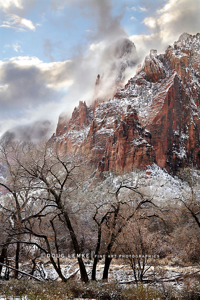 Jagged And Cloud Shrouded Peaks In Winter At Zion National Park, Utah, USA