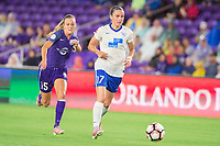 Orlando, FL - Saturday June 03, 2017: Rachel Hill, Amanda Frisbie during a regular season National Women's Soccer League (NWSL) match between the Orlando Pride and the Boston Breakers at Orlando City Stadium.