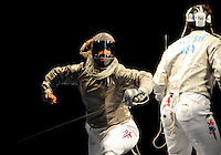 Aug. 9, 2008; Beijing, CHINA; Mariel Zagunis (left) battles Sada Jacobson in the womens fencing individual final at the Fencing Hall in the 2008 Beijing Olympic Games. Zagunis won the gold medal. Mandatory Credit: Mark J. Rebilas-