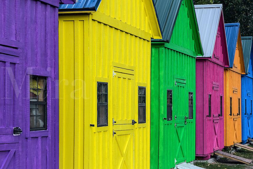 Coloful sheds at Lighthouse Point Park, Buffalo, New York, USA.