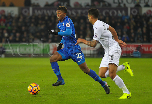 February 12th 2017, Liberty Stadium, Swansea, Wales; Premier league football, Swansea versus Leicester City; Leicester City's Demarai Gray takes on Swansea City's Kyle Naughton