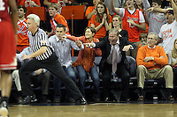Virginia fans help out the referee with a call during the game against NC State Saturday in Charlottesville, VA. Virginia defeated NC State 58-55.