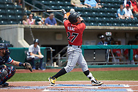 Jung Ho Kang (27) of the Indianapolis Indians follows through on his swing against the Columbus Clippers at Huntington Park on June 17, 2018 in Columbus, Ohio. The Indians defeated the Clippers 6-3.  (Brian Westerholt/Four Seam Images)