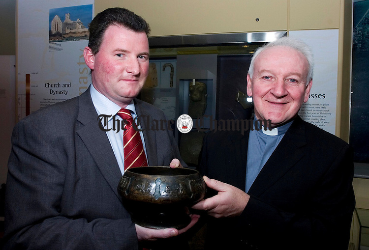 Pat Hayes, Chairman Community and Enterprise SPC presents Fr Sean Sexton of Clare Youth Services with his award.Pic Arthur Ellis.