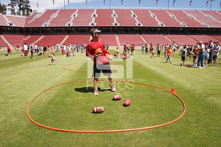 STANFORD,CA-- August 24, 2013: Football skill station during the 2013 Stanford Football Open House Saturday afternoon at Stanford Stadium.