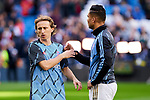 Luka Modric (L) and Carlos Henrique Casemiro (R) of Real Madrid during La Liga match between Real Madrid and Atletico de Madrid at Santiago Bernabeu Stadium in Madrid, Spain. February 01, 2020. (ALTERPHOTOS/A. Perez Meca)