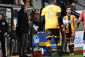 3rd October 2017, The Abbey Stadium, Cambridge, England; Football League Trophy Group stage, Cambridge United versus Southampton U21; Cambridge United Manager Shaun Derry tells his players to push up