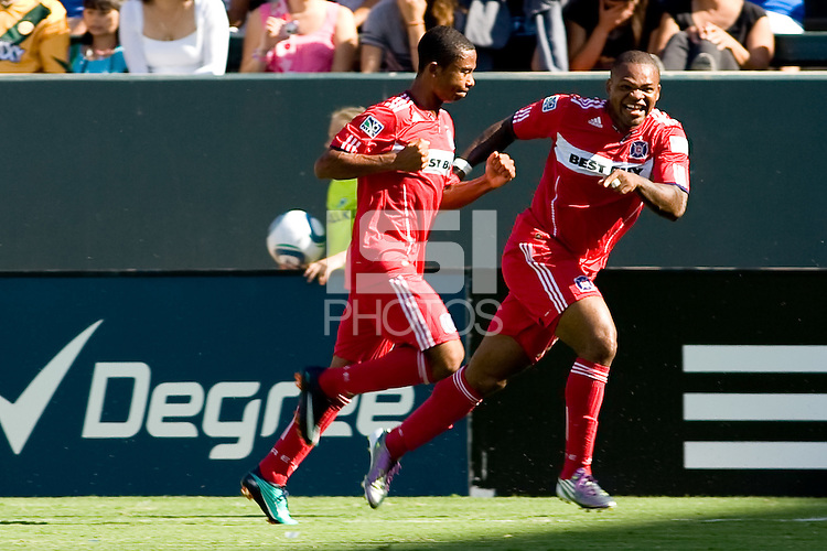 Chicago Fire forward Collins John celebrates a goal. The Chicago Fire beat the LA Galaxy 3-2 at Home Depot Center stadium in Carson, California on Sunday August 1, 2010.