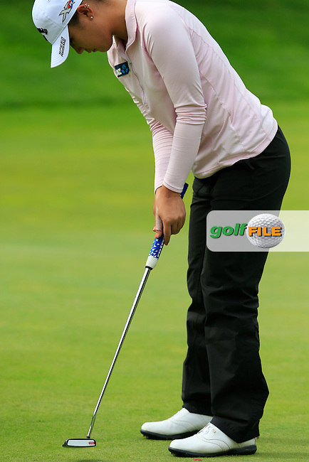 Lydia Ko (NZL) takes her putt on the 5th green during Sunday's Final Round of the LPGA 2015 Evian Championship, held at the Evian Resort Golf Club, Evian les Bains, France. 13th September 2015.<br /> Picture Eoin Clarke | Golffile