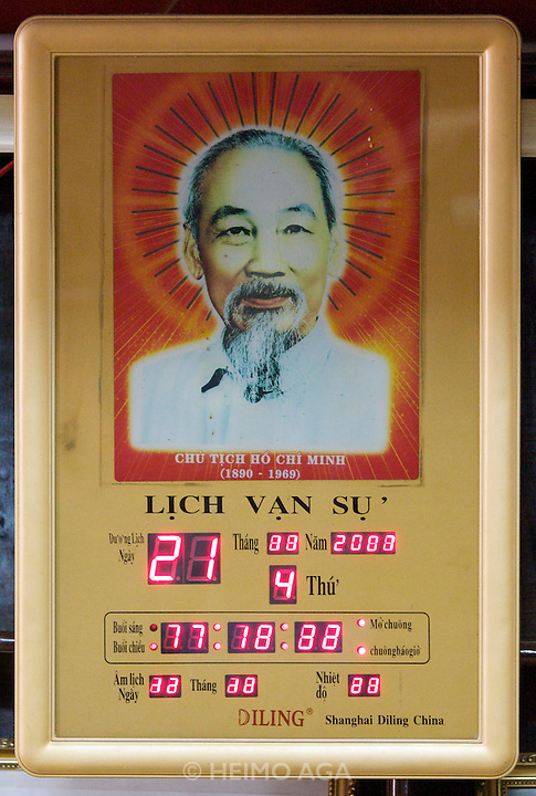 Muong Thanh Hotel. Ho Chi Minh digital clock and calendar..