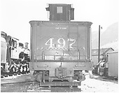 Rear view of K-37 #497 tender.  K-36 #481 is on left side.<br /> D&amp;RGW  Durango, CO  Taken by Payne, Andy M. - 10/14/1971