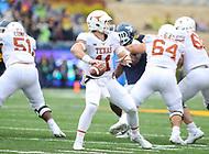 Morgantown, WV - November 18, 2017: Texas Longhorns quarterback Sam Ehlinger (11) attempts a pass during game between Texas and WVU at  Mountaineer Field at Milan Puskar Stadium in Morgantown, WV.  (Photo by Elliott Brown/Media Images International)