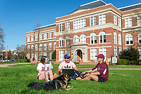 Students enjoy the weather on the Drill Field<br /> (photo by Marco Lopez / &copy; Mississippi State University)