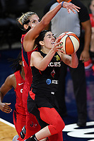 Washington, DC - Sept 17, 2019: Washington Mystics forward Elena Delle Donne (11) tries to block shot of Las Vegas Aces guard Kelsey Plum (10) during WNBA Playoff semi final game between Las Vegas Aces and Washington Mystics at the Entertainment & Sports Arena in Washington, DC. The Mystics hold on to beat the Aces 97-95. (Photo by Phil Peters/Media Images International)