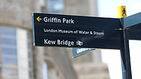 Signage on a street corner directs pedestrians to Griffin Park during Brentford vs Swansea City, Sky Bet EFL Championship Play-Off Semi-Final 2nd Leg Football at Griffin Park on 29th July 2020