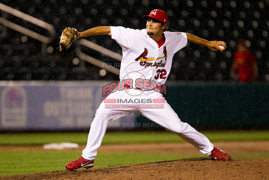 Nick Greenwood (32) of the Springfield Cardinals delivers a pitch during a game against the Frisco RoughRiders on April 14, 2011 at Hammons Field in Springfield, Missouri.  Photo By David Welker/Four Seam Images.