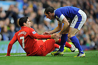 28.10.2012 Liverpool, England. Luis Suarez  of Liverpool is helped to his feet by Leighton Baines of Everton during the Premier League game between Everton and Liverpool  from Goodison Park ,Liverpool
