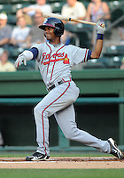 Infielder Edward Salcedo (1) of the Rome Braves, Class A affiliate of the Atlanta Braves, in a game against the Greenville Drive on July 18, 2011, at Fluor Field at the West End in Greenville, South Carolina. (Tom Priddy/Four Seam Images)