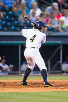 Kean Wong (4) of the Bowling Green Hot Rods at bat against the Quad Cities River Bandits at Bowling Green Ballpark on July 26, 2014 in Bowling Green, Kentucky.  The River Bandits defeated the Hot Rods 9-2.  (Brian Westerholt/Four Seam Images)