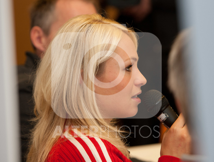 07.12.2011, Hotel Krallerhof, Leogang, AUT, DSV Biathletin Magdalena Neuner anlässlich einer Pressekonferenz zu ihrem Rücktritt aus den aktiven Spitzensport // Germans biathlete Magdalena Neuner during press conference of her retirement from professional sport  with the end of the 2011/2012 season at Hotel Krallerhof, Leogang, Austria on 07/12/20211. EXPA Pictures © 2011, PhotoCredit: EXPA/ Johann Groder