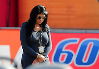 Nov. 13, 2011; Pomona, CA, USA; Connie Worsham wife of NHRA top fuel dragster driver Del Worsham (not pictured) during the Auto Club Finals at Auto Club Raceway at Pomona. Mandatory Credit: Mark J. Rebilas-.
