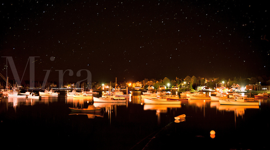 Lobster boats in harbor at night, Bass Harbor, Maine, ME, USA