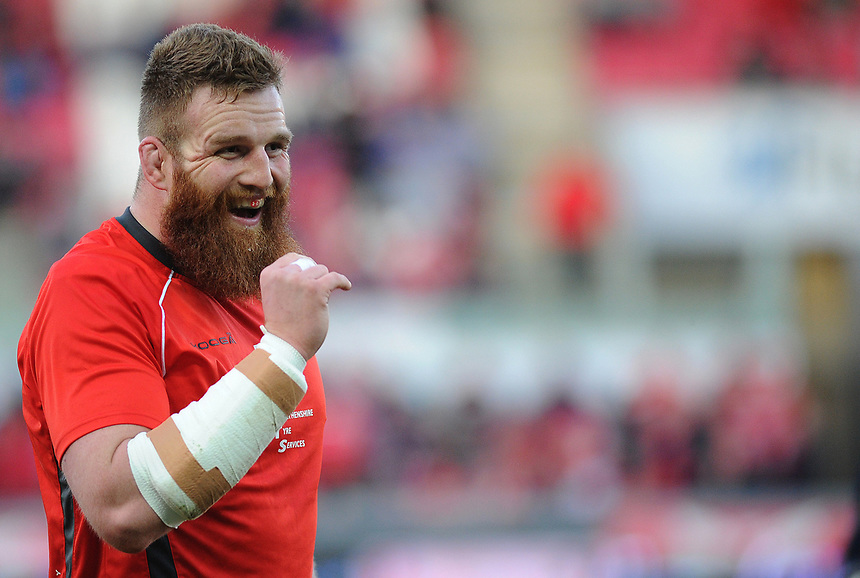 Scarlets' Jake Ball during the pre match warm up<br /> <br /> Photographer Ashley Crowden/CameraSport<br /> <br /> Guinness PRO12 Round 19 - Scarlets v Benetton Treviso - Saturday 8th April 2017 - Parc y Scarlets - Llanelli, Wales<br /> <br /> World Copyright &copy; 2017 CameraSport. All rights reserved. 43 Linden Ave. Countesthorpe. Leicester. England. LE8 5PG - Tel: +44 (0) 116 277 4147 - admin@camerasport.com - www.camerasport.com