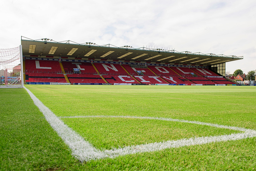 A general view of Sincil Bank, home of Lincoln City FC<br /> <br /> Photographer Chris Vaughan/CameraSport<br /> <br /> Football Pre-Season Friendly - Lincoln City v Stoke City - Wednesday July 24th 2019 - Sincil Bank - Lincoln<br /> <br /> World Copyright © 2019 CameraSport. All rights reserved. 43 Linden Ave. Countesthorpe. Leicester. England. LE8 5PG - Tel: +44 (0) 116 277 4147 - admin@camerasport.com - www.camerasport.com