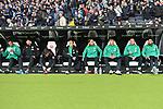 06.10.2019, Commerzbankarena, Frankfurt, GER, 1. FBL, Eintracht Frankfurt vs. SV Werder Bremen, <br /> <br /> DFL REGULATIONS PROHIBIT ANY USE OF PHOTOGRAPHS AS IMAGE SEQUENCES AND/OR QUASI-VIDEO.<br /> <br /> im Bild: Sebastian Langkamp (SV Werder Bremen #15), Stefanos Kapino (SV Werder Bremen #27), Benjamin Goller (SV Werder Bremen #39), Johannes Eggestein (SV Werder Bremen #24), Michael Lang (SV Werder Bremen #4), Luc Ihorst (SV Werder Bremen #29), Philipp Bargfrede (#44, SV Werder Bremen), Claudio Pizarro (SV Werder Bremen #14)<br /> <br /> Foto © nordphoto / Fabisch