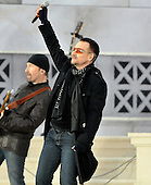 "Washington, DC - January 18, 2009 -- Bono performs at the ""Today: We are One - The Obama Inaugural Celebration at the Lincoln Memorial"" in Washington, D.C. on Sunday, January 18, 2009..Credit: Ron Sachs / CNP.(RESTRICTION: NO New York or New Jersey Newspapers or newspapers within a 75 mile radius of New York City)"
