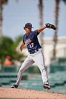 GCL Twins relief pitcher Steven Cruz (17) delivers a pitch during the first game of a doubleheader against the GCL Orioles on August 1, 2018 at CenturyLink Sports Complex Fields in Fort Myers, Florida.  GCL Twins defeated GCL Orioles 7-6 in the completion of a suspended game originally started on July 31st, 2018.  (Mike Janes/Four Seam Images)