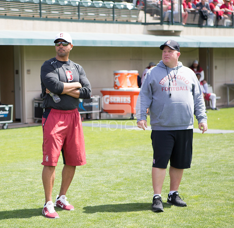 Stanford, CA - April15, 2017:  Coach Diron Reynolds, Coach Lance Anderson at Cagan Stadium.