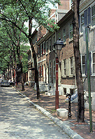 Philadelphia: 18th C. residential street--North side, 200 block of Delancey St.  Photo '85.