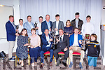 The award winners at the Dr Crokes GAA celebration social in the Gleneagle Hotel on Sunday night front row l-r: Aine O'Shea presenting Ladies Player of the Year to, PaT O'Shea receives the Club man of the year from Patrick O'Sullivan Chairman, Kieran O'Leary receives the Player of the Year from Gearoid Sugrue. Back row: Vince Casey, Killian Fitzgerald, Patrick Landers, Shane Lyne Der Brosnan, Harry Potts, Maggie McAulliffe, Michael Lenihan and Mark Cooper