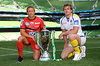Jonny Wilkinson of RC Toulon (left) and Aurelien Rougerie of ASM Clermont Auvergne with the Heineken Cup Trophy at the Captain's Run press conference before the Heineken Cup Final at the Aviva Stadium, Dublin on Friday 17th May 2013 (Photo by Rob Munro).