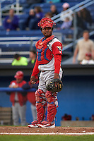 Williamsport Crosscutters catcher Jesus Posso (28) during a game against the Batavia Muckdogs on August 27, 2015 at Dwyer Stadium in Batavia, New York.  Batavia defeated Williamsport 3-2.  (Mike Janes/Four Seam Images)