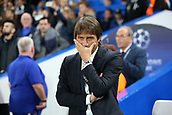 12th September 2017, Stamford Bridge, London, England; UEFA Champions League Group stage, Chelsea versus Qarabag FK; Chelsea Manager Antonio Conte looking concerned from the touchline before kick off