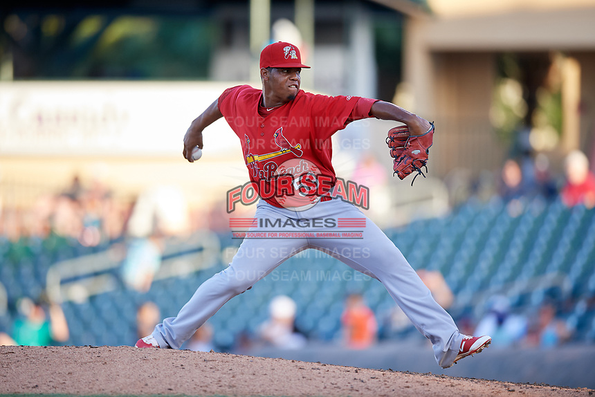 Palm Beach Cardinals relief pitcher Yeison Medina (53) delivers a pitch during a game against the Jupiter Hammerheads on August 4, 2018 at Roger Dean Chevrolet Stadium in Jupiter, Florida.  Palm Beach defeated Jupiter 7-6.  (Mike Janes/Four Seam Images)
