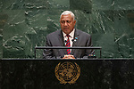 General Assembly Seventy-fourth session, 5th plenary meeting<br /> <br /> His Excellency Josaia Voreqe Bainimarama, Prime Minister and Minister for iTaukei<br /> Affairs and Sugar Industry, Republic of Fiji