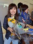 (L-R) Ai Fukuhara, Kasumi Ishikawa (JPN), AUGUST 20, 2016 - Table Tennis : Rio 2016 Summer Olympic Games table tennis women's team bronze medalists Ai Fukuhara arrives at Tokyo International Airport in Tokyo, Japan, on August 20, 2016. (Photo by AFLO)